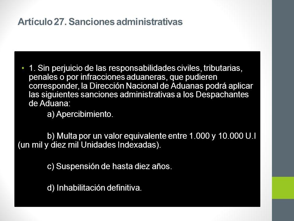 Artículo 27. Sanciones administrativas 1.