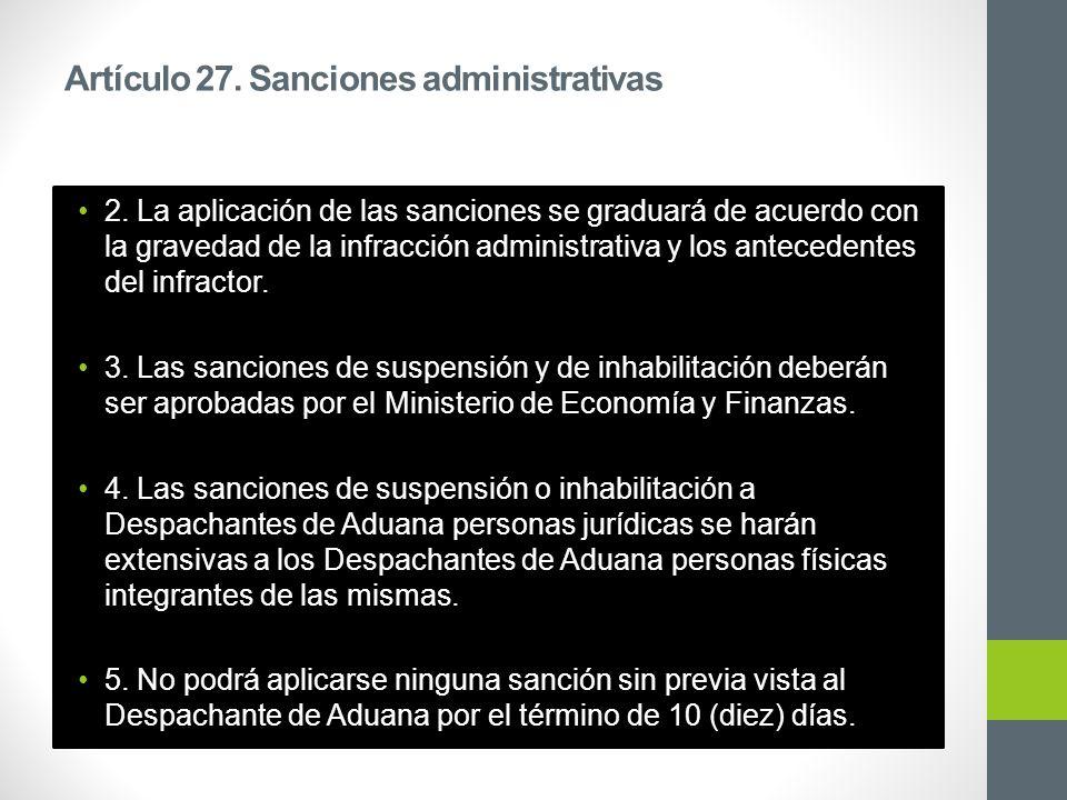 Artículo 27. Sanciones administrativas 2.