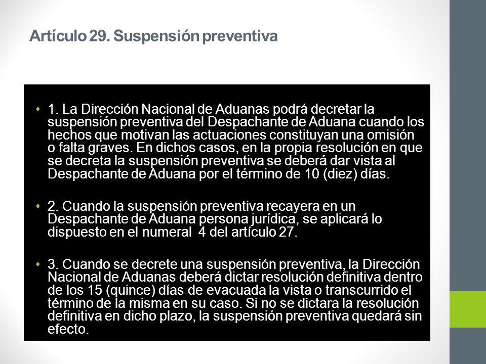 Artículo 29. Suspensión preventiva 1.