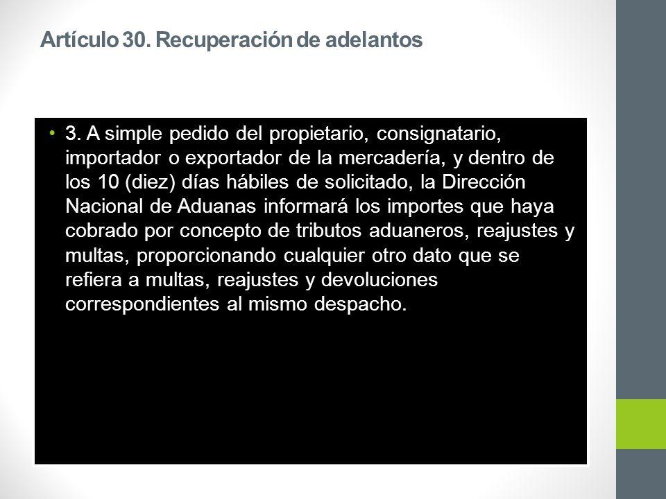Artículo 30. Recuperación de adelantos 3.