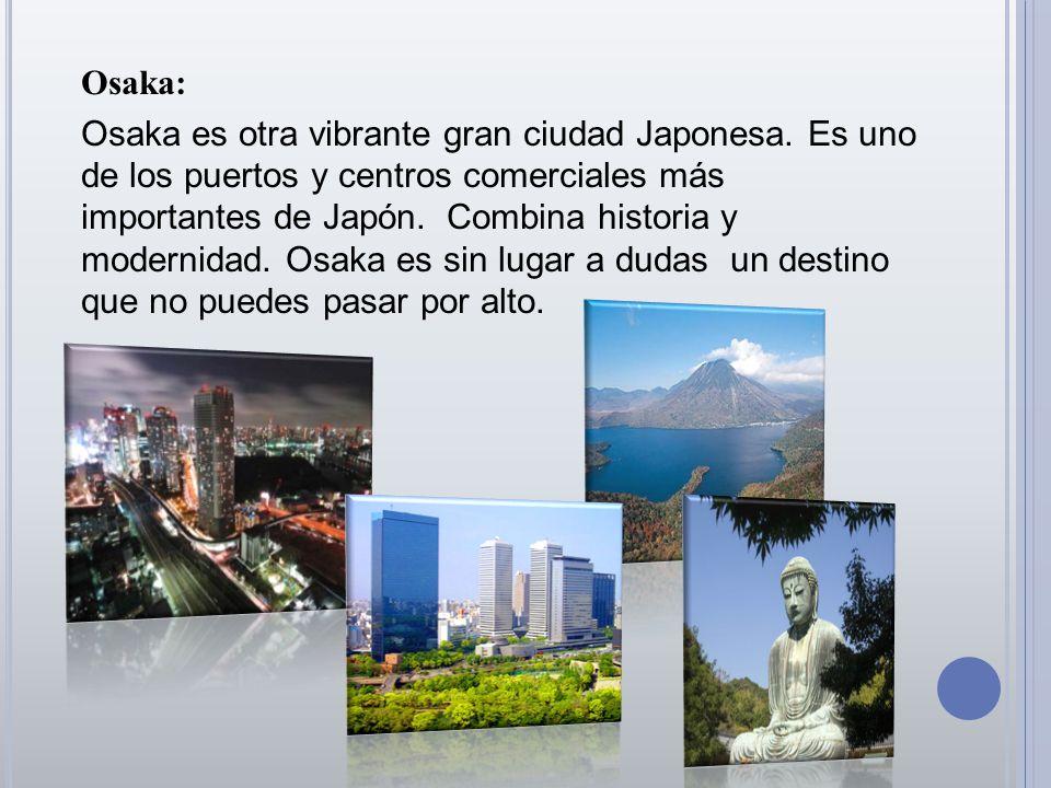 Osaka: Osaka es otra vibrante gran ciudad Japonesa. Es uno de los puertos y centros comerciales más importantes de Japón. Combina historia y modernida