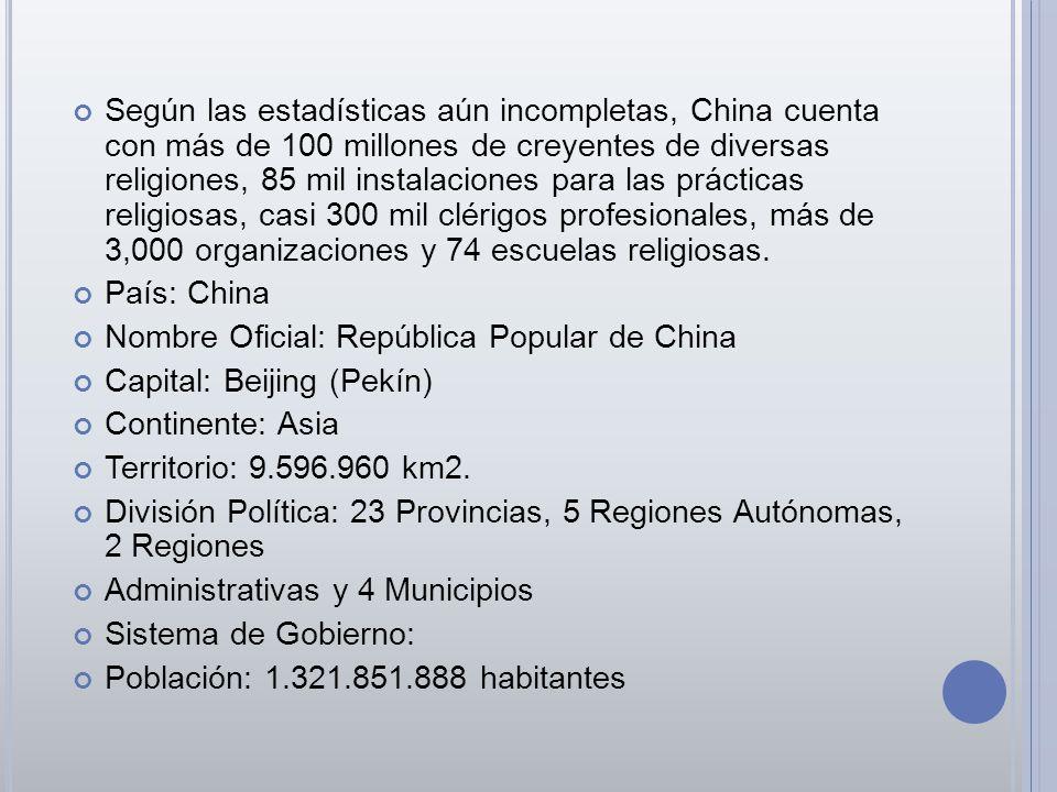 Según las estadísticas aún incompletas, China cuenta con más de 100 millones de creyentes de diversas religiones, 85 mil instalaciones para las prácti