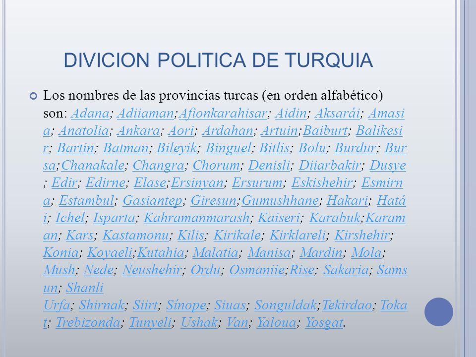 DIVICION POLITICA DE TURQUIA Los nombres de las provincias turcas (en orden alfabético) son: Adana; Adiiaman;Afionkarahisar; Aidin; Aksarái; Amasi a;