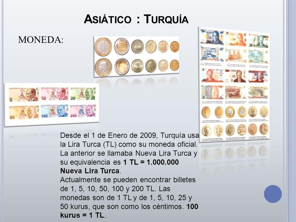 A SIÁTICO : T URQUÍA MONEDA: Desde el 1 de Enero de 2009, Turquía usa la Lira Turca (TL) como su moneda oficial. La anterior se llamaba Nueva Lira Tur