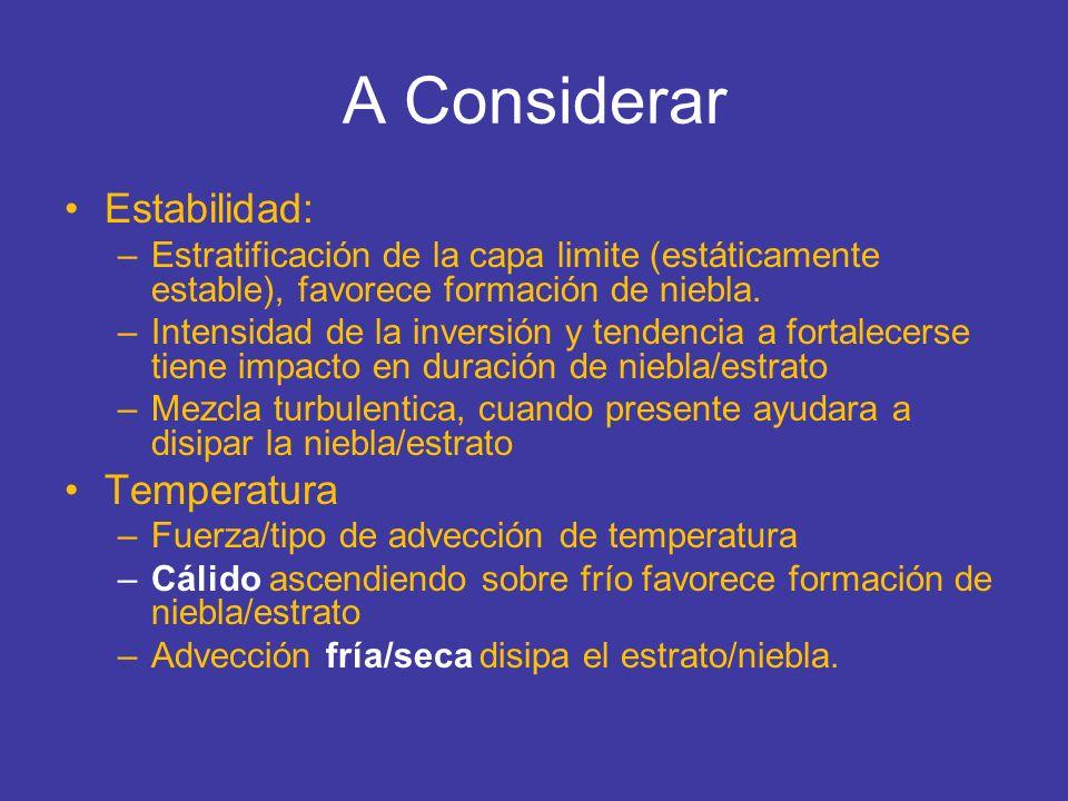 A Considerar Estabilidad: –Estratificación de la capa limite (estáticamente estable), favorece formación de niebla. –Intensidad de la inversión y tend