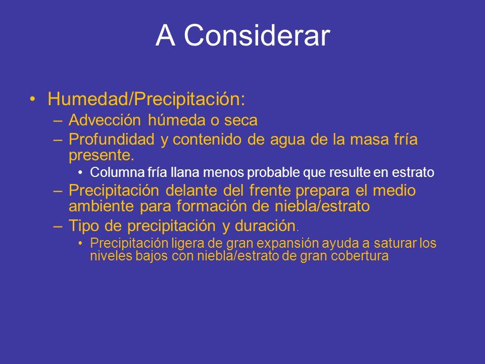 A Considerar Humedad/Precipitación: –Advección húmeda o seca –Profundidad y contenido de agua de la masa fría presente. Columna fría llana menos proba
