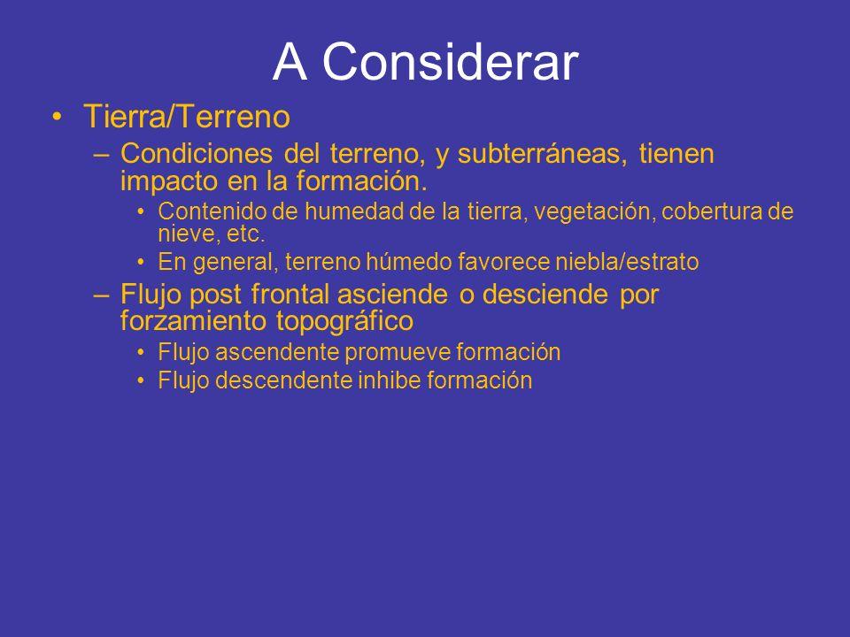 A Considerar Tierra/Terreno –Condiciones del terreno, y subterráneas, tienen impacto en la formación. Contenido de humedad de la tierra, vegetación, c