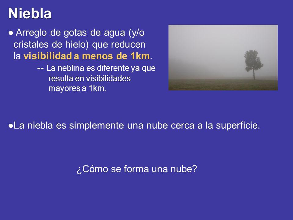 Niebla La niebla es simplemente una nube cerca a la superficie. Arreglo de gotas de agua (y/o cristales de hielo) que reducen la visibilidad a menos d