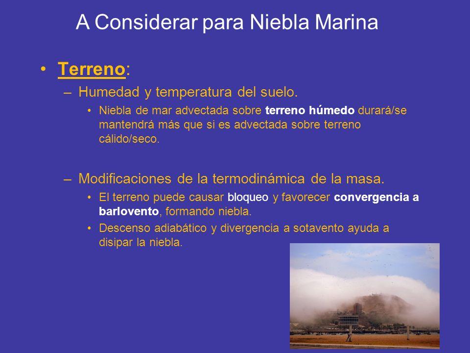 Terreno: –Humedad y temperatura del suelo. Niebla de mar advectada sobre terreno húmedo durará/se mantendrá más que si es advectada sobre terreno cáli