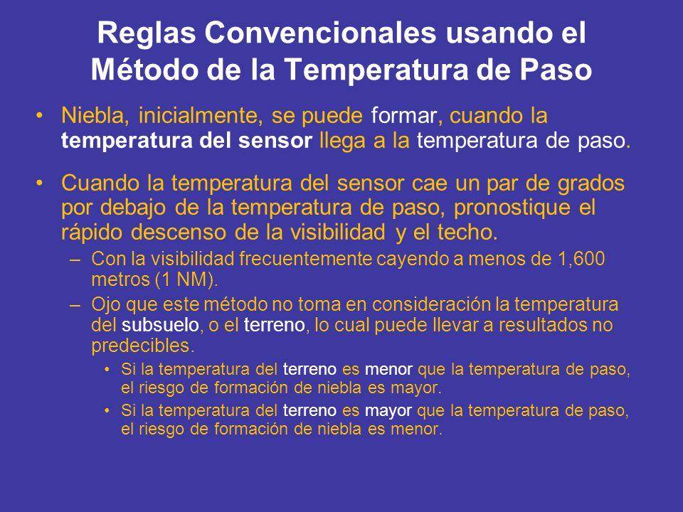Reglas Convencionales usando el Método de la Temperatura de Paso Niebla, inicialmente, se puede formar, cuando la temperatura del sensor llega a la te