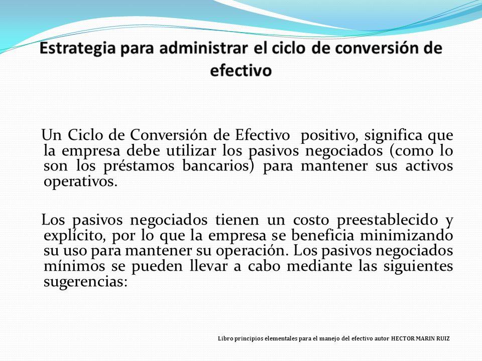 Libro principios elementales para el manejo del efectivo autor HECTOR MARIN RUIZ Un Ciclo de Conversión de Efectivo positivo, significa que la empresa