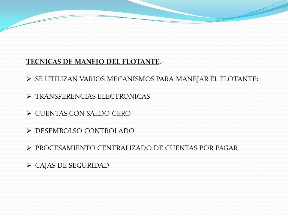 TECNICAS DE MANEJO DEL FLOTANTE.- SE UTILIZAN VARIOS MECANISMOS PARA MANEJAR EL FLOTANTE: TRANSFERENCIAS ELECTRONICAS CUENTAS CON SALDO CERO DESEMBOLS