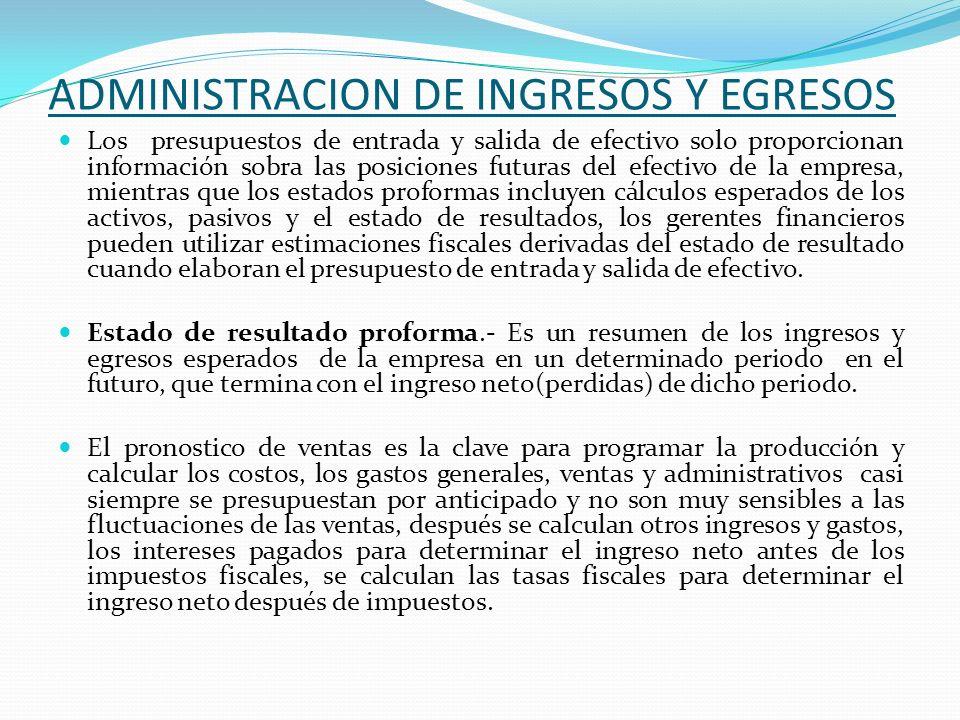 ADMINISTRACION DE INGRESOS Y EGRESOS Los presupuestos de entrada y salida de efectivo solo proporcionan información sobra las posiciones futuras del e