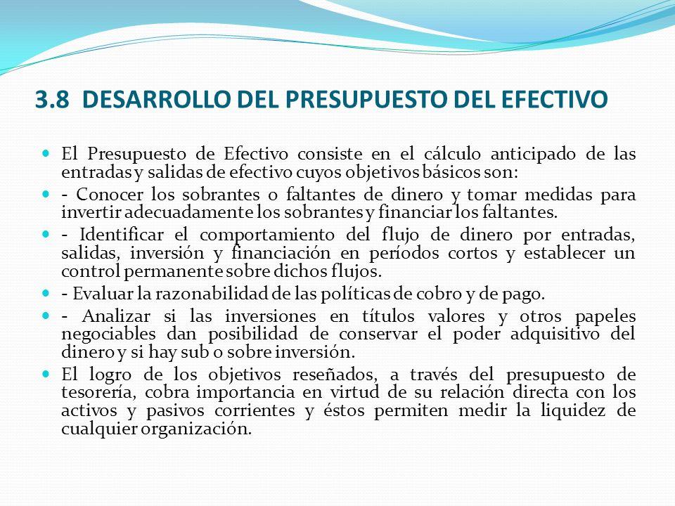 3.8 DESARROLLO DEL PRESUPUESTO DEL EFECTIVO El Presupuesto de Efectivo consiste en el cálculo anticipado de las entradas y salidas de efectivo cuyos o