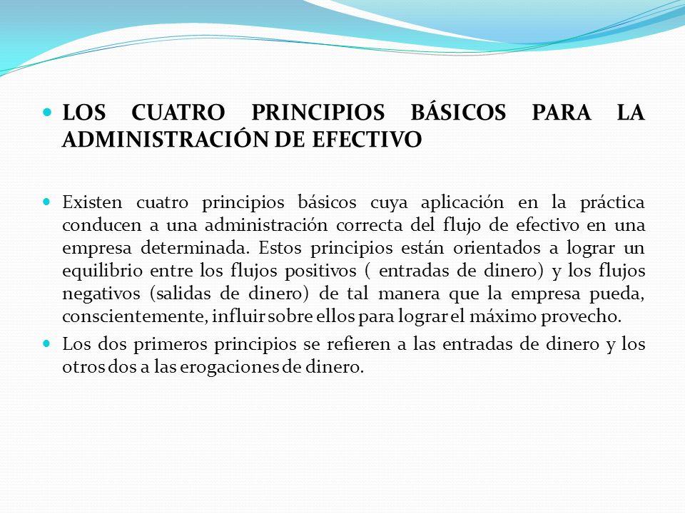 LOS CUATRO PRINCIPIOS BÁSICOS PARA LA ADMINISTRACIÓN DE EFECTIVO Existen cuatro principios básicos cuya aplicación en la práctica conducen a una admin