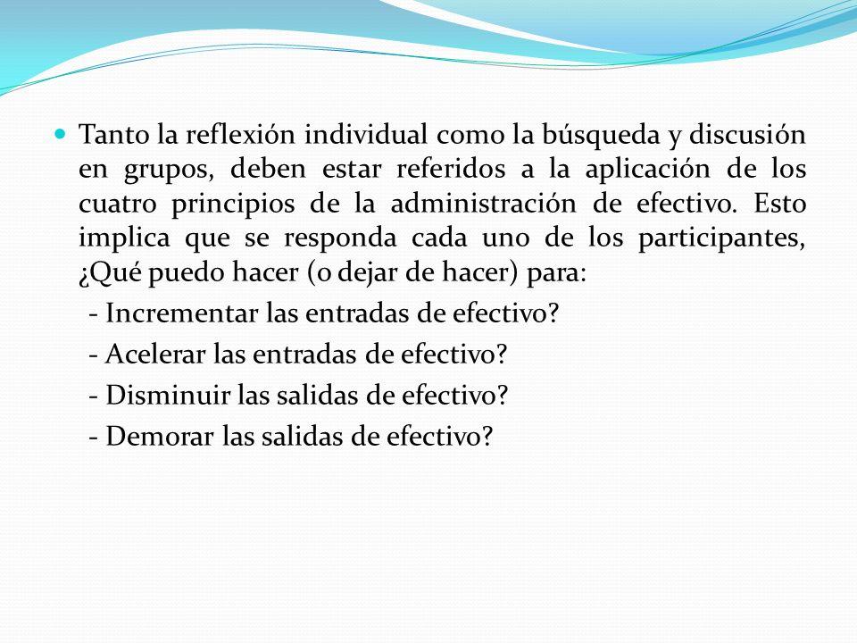 Tanto la reflexión individual como la búsqueda y discusión en grupos, deben estar referidos a la aplicación de los cuatro principios de la administrac