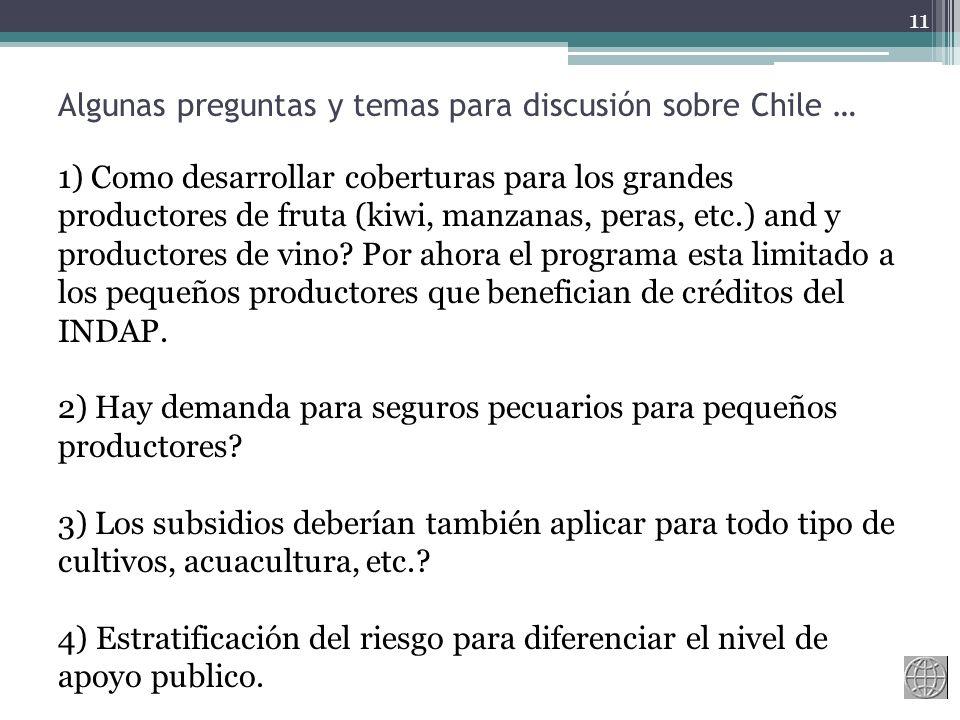 11 Algunas preguntas y temas para discusión sobre Chile … 1) Como desarrollar coberturas para los grandes productores de fruta (kiwi, manzanas, peras, etc.) and y productores de vino.