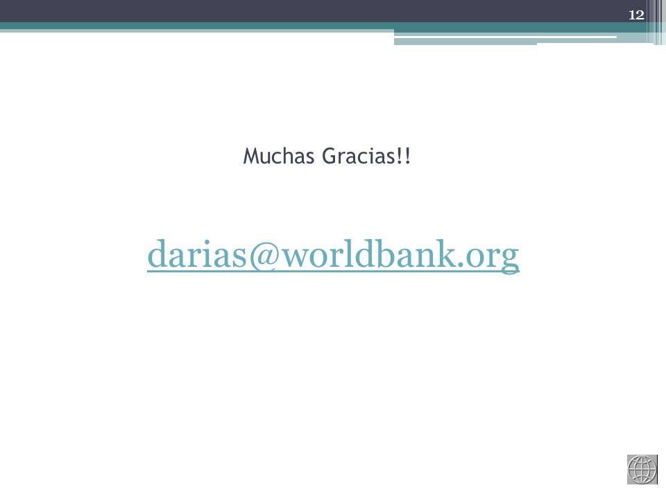 Muchas Gracias!! 12 darias@worldbank.org