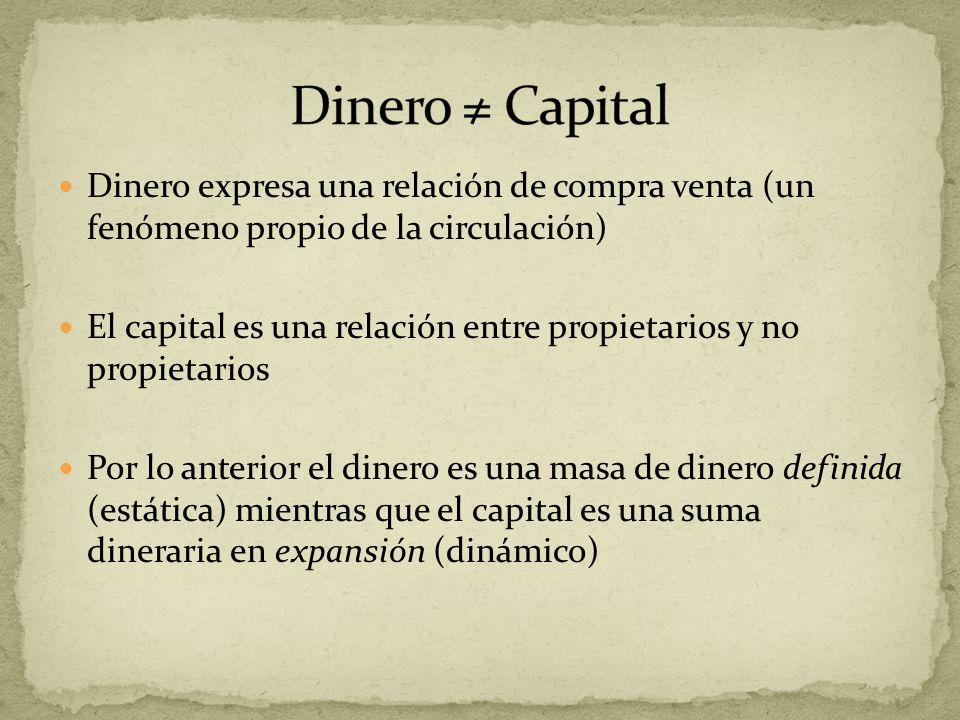Dinero expresa una relación de compra venta (un fenómeno propio de la circulación) El capital es una relación entre propietarios y no propietarios Por