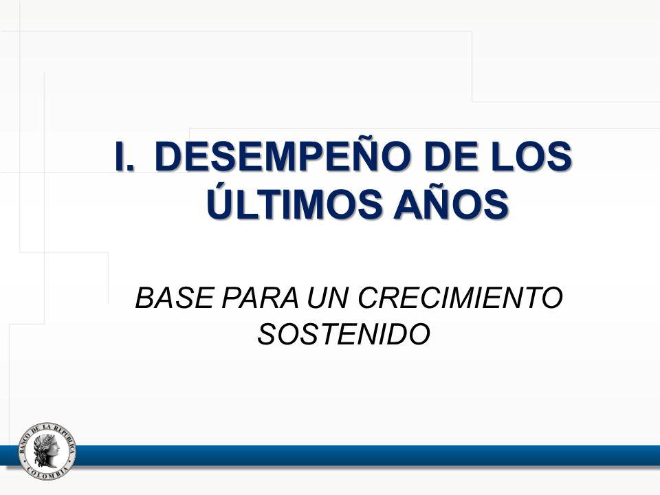I. DESEMPEÑO DE LOS ÚLTIMOS AÑOS BASE PARA UN CRECIMIENTO SOSTENIDO