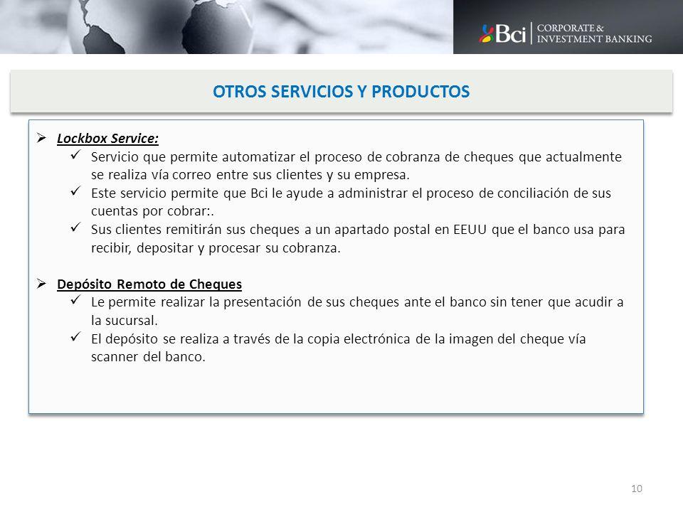 OTROS SERVICIOS Y PRODUCTOS Lockbox Service: Servicio que permite automatizar el proceso de cobranza de cheques que actualmente se realiza vía correo