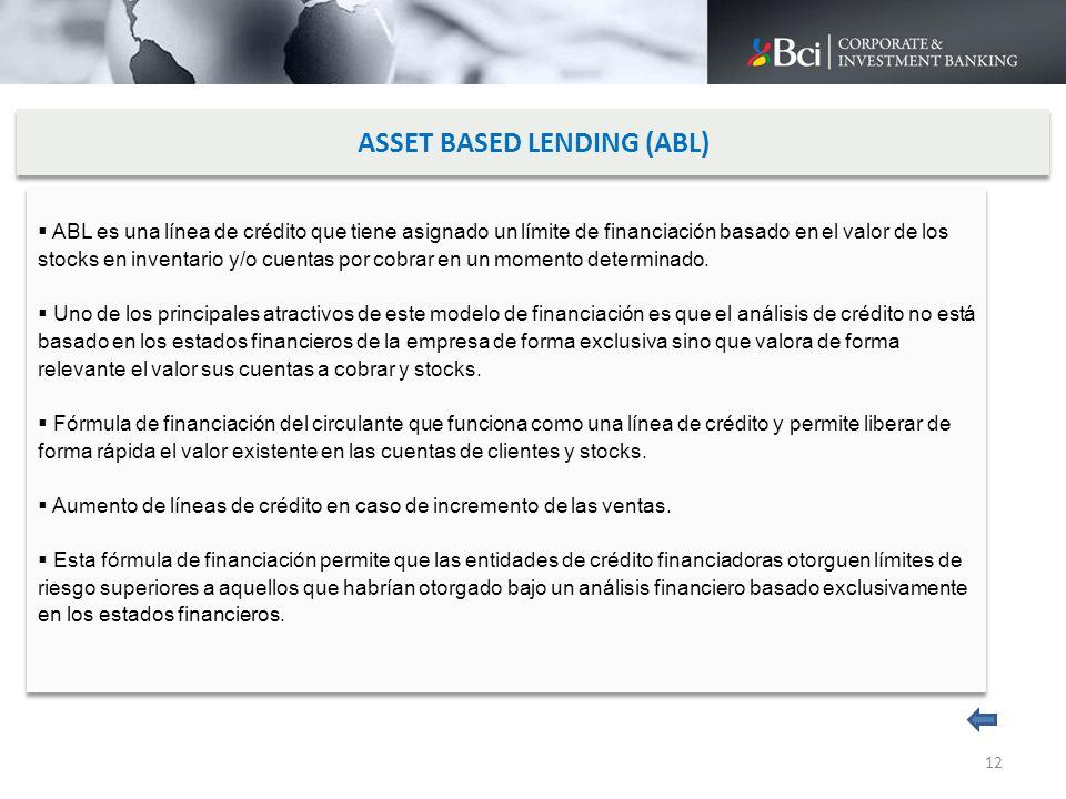ASSET BASED LENDING (ABL) ABL es una línea de crédito que tiene asignado un límite de financiación basado en el valor de los stocks en inventario y/o