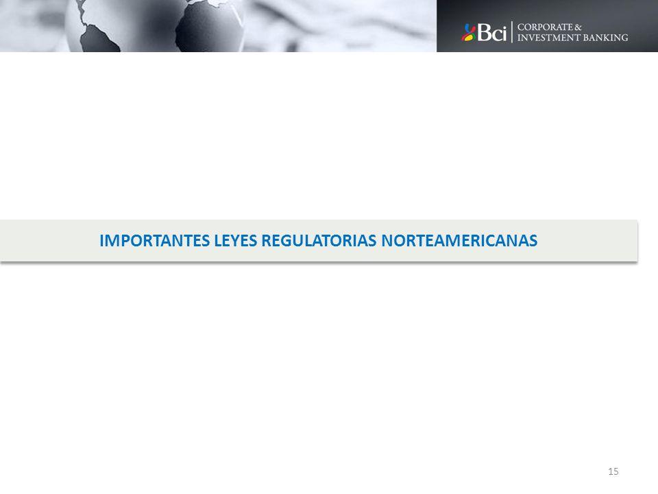 IMPORTANTES LEYES REGULATORIAS NORTEAMERICANAS 15