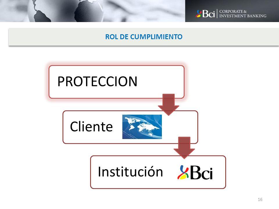 ROL DE CUMPLIMIENTO PROTECCION Cliente Institución 16
