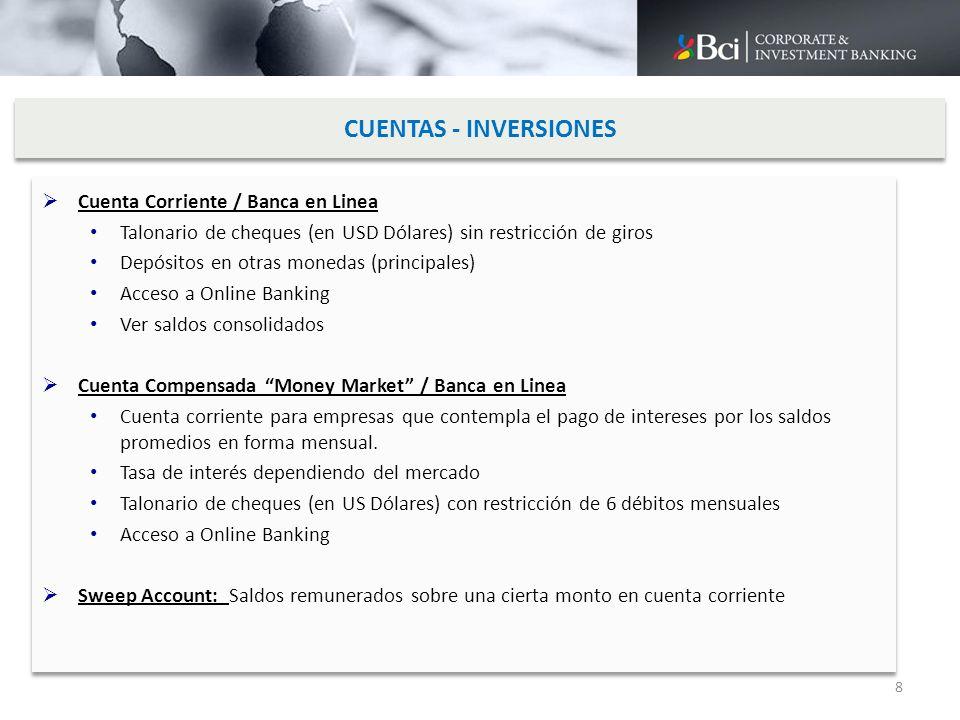 CUENTAS - INVERSIONES Cuenta Corriente / Banca en Linea Talonario de cheques (en USD Dólares) sin restricción de giros Depósitos en otras monedas (pri