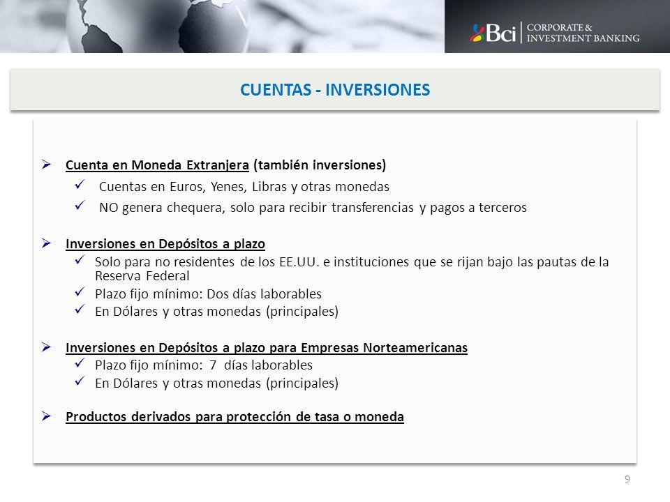 CUENTAS - INVERSIONES Cuenta en Moneda Extranjera (también inversiones) Cuentas en Euros, Yenes, Libras y otras monedas NO genera chequera, solo para