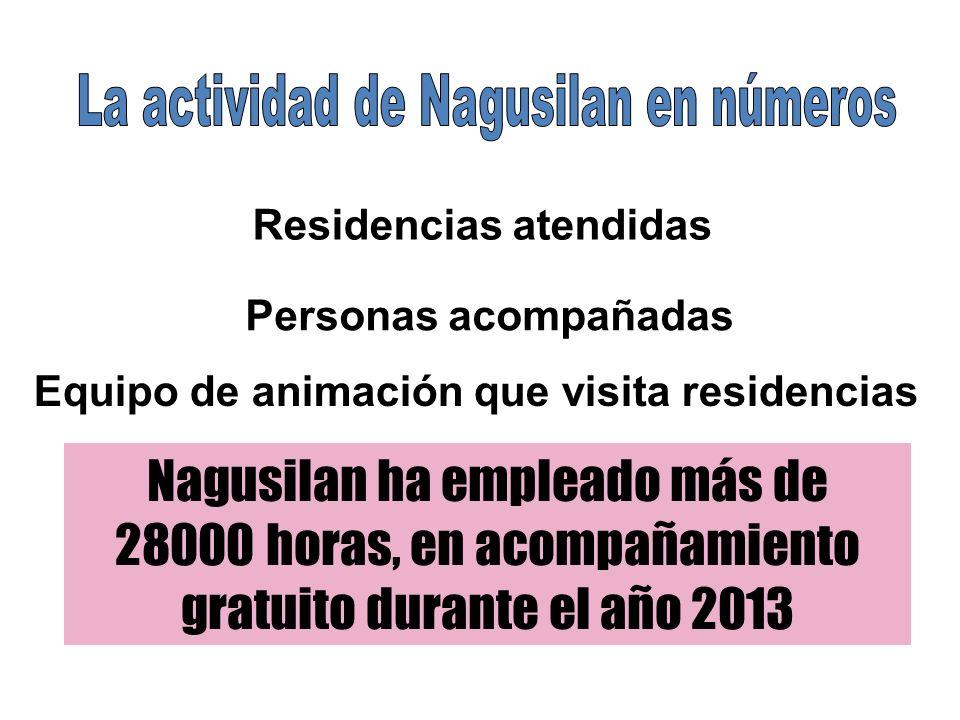 Residencias atendidas Personas acompañadas Equipo de animación que visita residencias Nagusilan ha empleado más de 28000 horas, en acompañamiento gratuito durante el año 2013