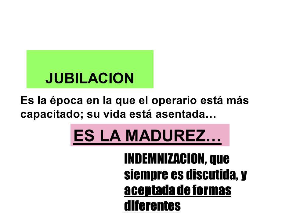 JUBILACION Es la época en la que el operario está más capacitado; su vida está asentada… ES LA MADUREZ… INDEMNIZACION, que siempre es discutida, y aceptada de formas diferentes