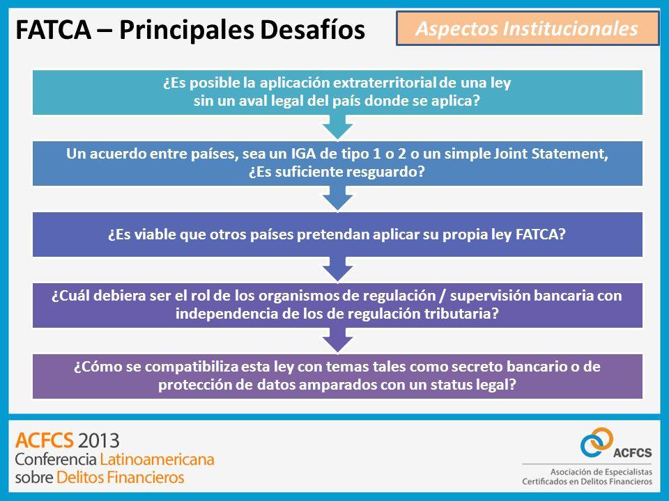 FATCA – Principales Desafíos Aspectos Institucionales ¿Cómo se compatibiliza esta ley con temas tales como secreto bancario o de protección de datos a
