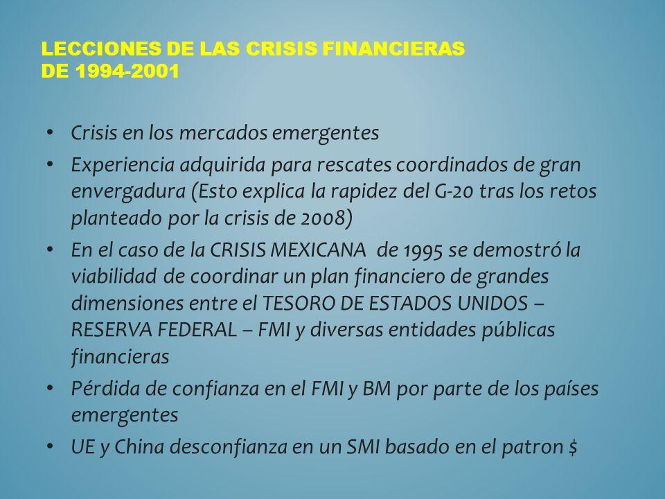 LECCIONES DE LAS CRISIS FINANCIERAS DE 1994-2001 Crisis en los mercados emergentes Experiencia adquirida para rescates coordinados de gran envergadura (Esto explica la rapidez del G-20 tras los retos planteado por la crisis de 2008) En el caso de la CRISIS MEXICANA de 1995 se demostró la viabilidad de coordinar un plan financiero de grandes dimensiones entre el TESORO DE ESTADOS UNIDOS – RESERVA FEDERAL – FMI y diversas entidades públicas financieras Pérdida de confianza en el FMI y BM por parte de los países emergentes UE y China desconfianza en un SMI basado en el patron $