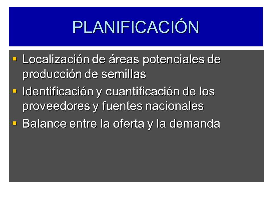 Localización de áreas potenciales de producción de semillas Localización de áreas potenciales de producción de semillas Identificación y cuantificació