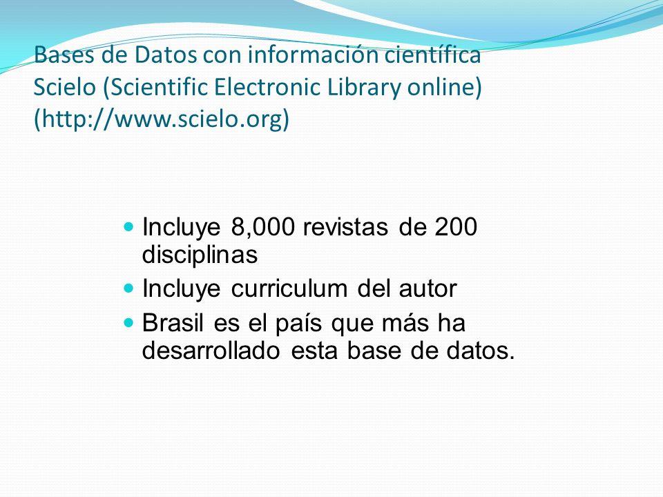Bases de Datos con información científica ISI (http://www.isinet.com/) Se funda en 1942 y su misión es incrementar el impacto de la investigación mediante la difusión de la investigación para acelerar el proceso de generación de conocimiento.