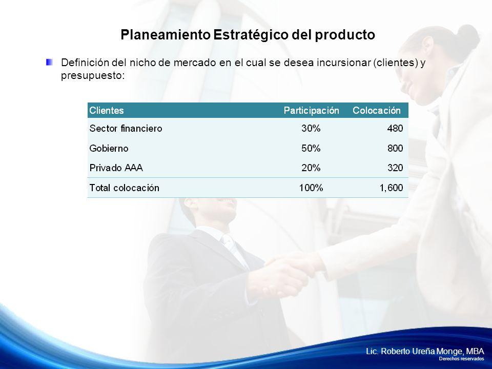 Lic. Roberto Ureña Monge, MBA Derechos reservados Definición del nicho de mercado en el cual se desea incursionar (clientes) y presupuesto: Planeamien