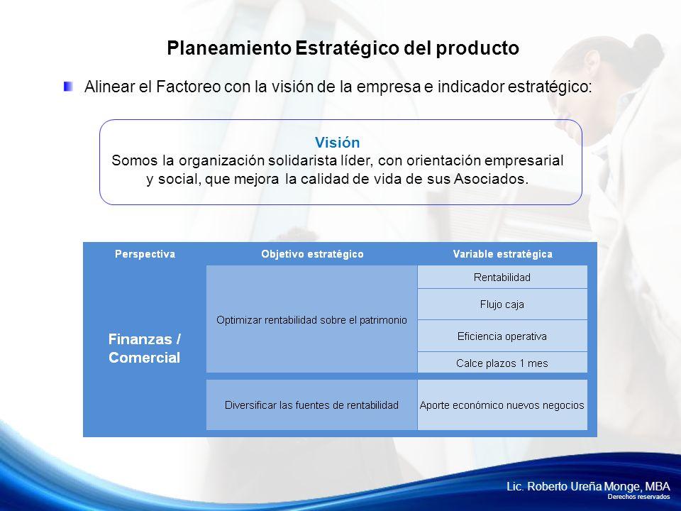 Lic. Roberto Ureña Monge, MBA Derechos reservados Alinear el Factoreo con la visión de la empresa e indicador estratégico: Planeamiento Estratégico de