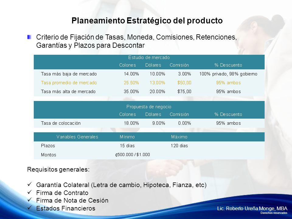 Lic. Roberto Ureña Monge, MBA Derechos reservados Criterio de Fijación de Tasas, Moneda, Comisiones, Retenciones, Garantías y Plazos para Descontar Re