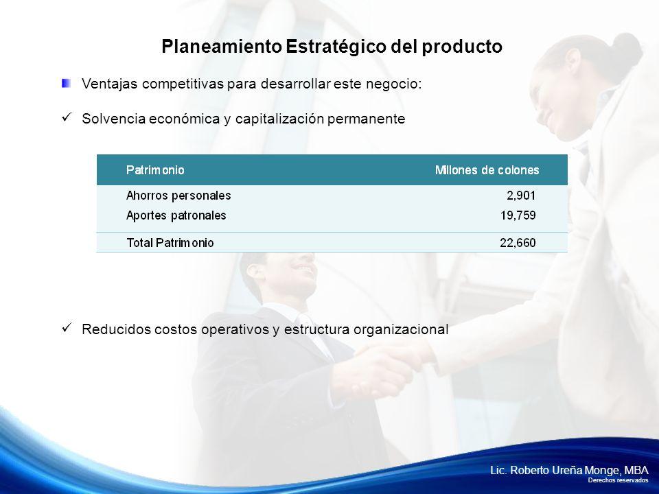 Lic. Roberto Ureña Monge, MBA Derechos reservados Ventajas competitivas para desarrollar este negocio: Solvencia económica y capitalización permanente