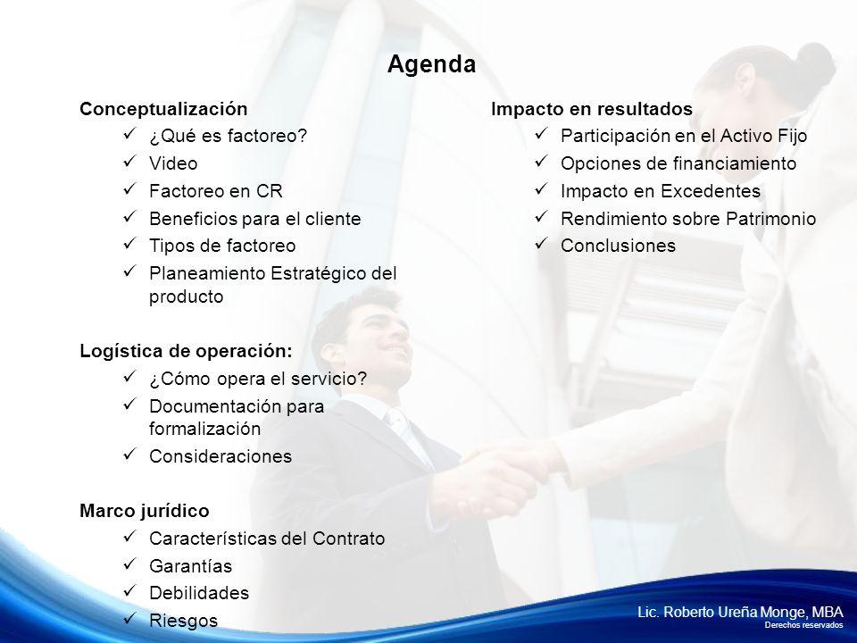 Lic. Roberto Ureña Monge, MBA Derechos reservados Agenda Conceptualización ¿Qué es factoreo? Video Factoreo en CR Beneficios para el cliente Tipos de