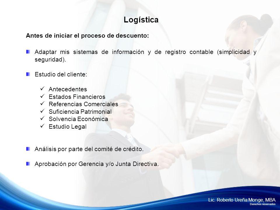 Lic. Roberto Ureña Monge, MBA Derechos reservados Antes de iniciar el proceso de descuento: Adaptar mis sistemas de información y de registro contable