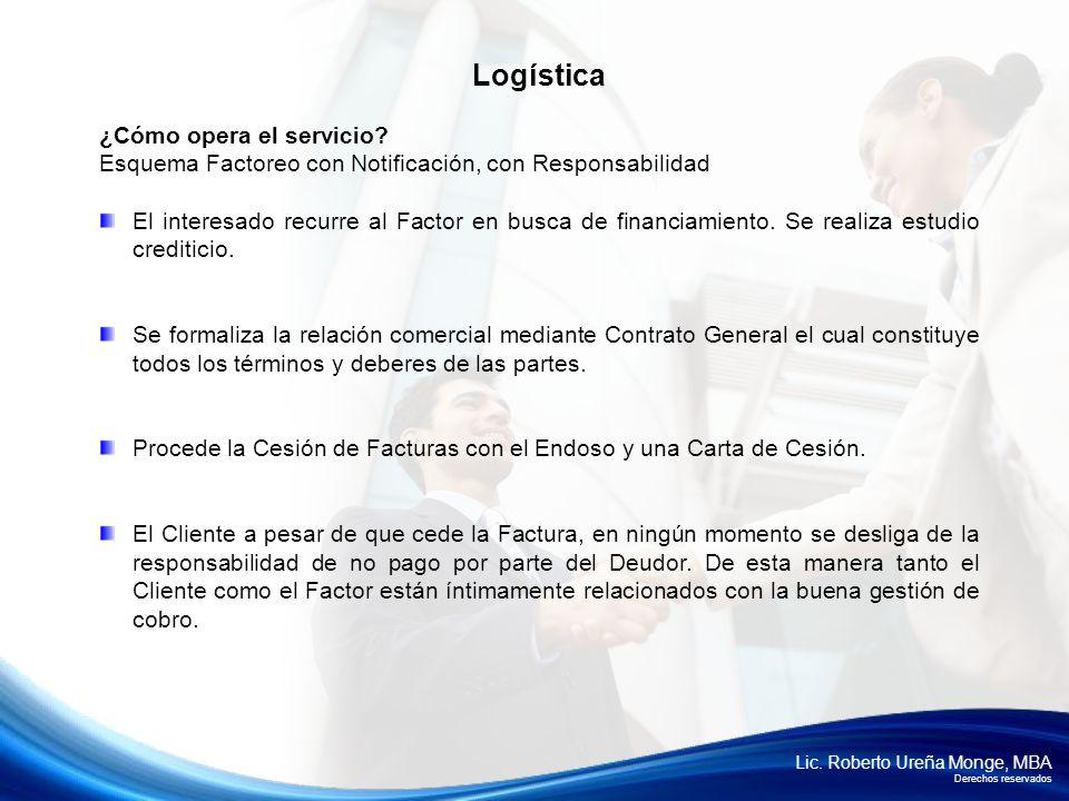 Lic. Roberto Ureña Monge, MBA Derechos reservados ¿Cómo opera el servicio? Esquema Factoreo con Notificación, con Responsabilidad El interesado recurr