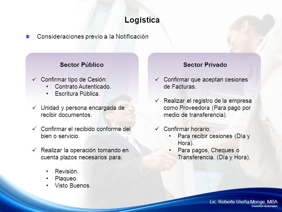 Lic. Roberto Ureña Monge, MBA Derechos reservados Consideraciones previo a la Notificación Logística Sector Privado Confirmar que aceptan cesiones de