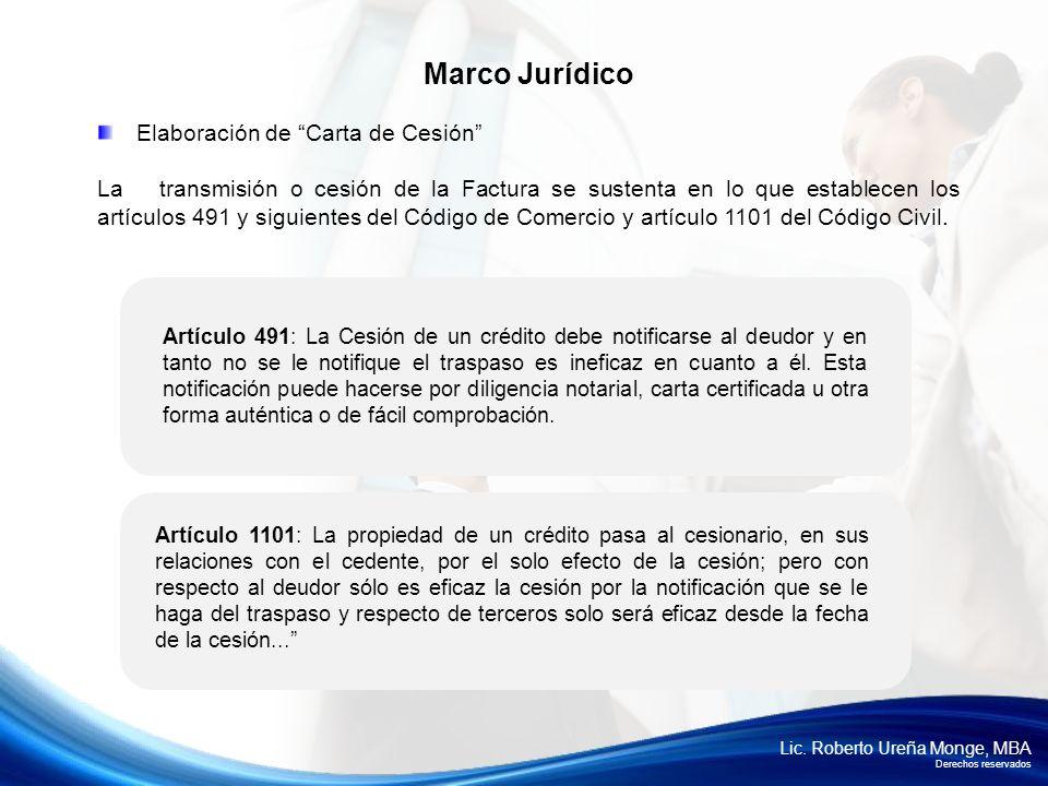 Lic. Roberto Ureña Monge, MBA Derechos reservados Elaboración de Carta de Cesión La transmisión o cesión de la Factura se sustenta en lo que establece