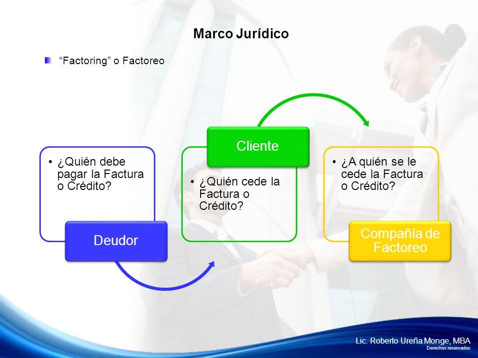 Lic. Roberto Ureña Monge, MBA Derechos reservados Factoring o Factoreo Marco Jurídico ¿Quién debe pagar la Factura o Crédito? Deudor ¿Quién cede la Fa