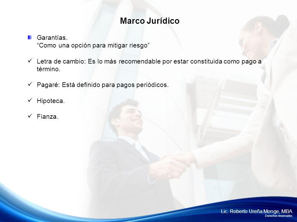 Lic. Roberto Ureña Monge, MBA Derechos reservados Garantías. Como una opción para mitigar riesgo Letra de cambio: Es lo más recomendable por estar con