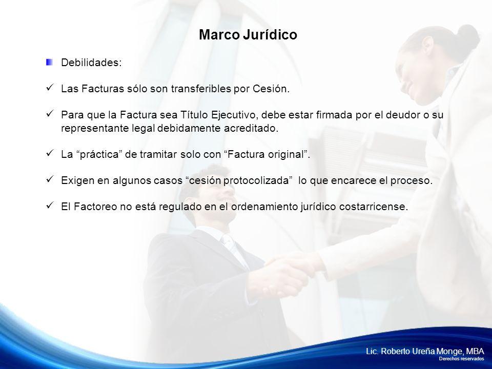 Lic. Roberto Ureña Monge, MBA Derechos reservados Debilidades: Las Facturas sólo son transferibles por Cesión. Para que la Factura sea Título Ejecutiv