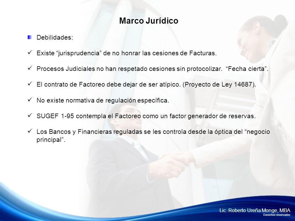 Lic. Roberto Ureña Monge, MBA Derechos reservados Debilidades: Existe jurisprudencia de no honrar las cesiones de Facturas. Procesos Judiciales no han