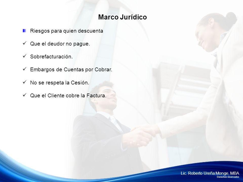 Lic. Roberto Ureña Monge, MBA Derechos reservados Riesgos para quien descuenta Que el deudor no pague. Sobrefacturación. Embargos de Cuentas por Cobra